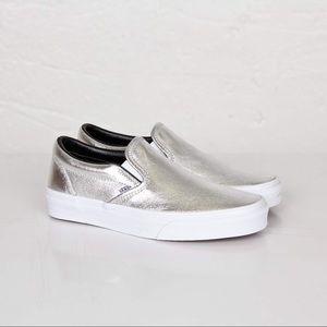 Vans Silver Metallic Leather Slip On size 8.5